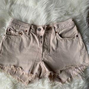 Women's LEVI Cream Denim Shorts